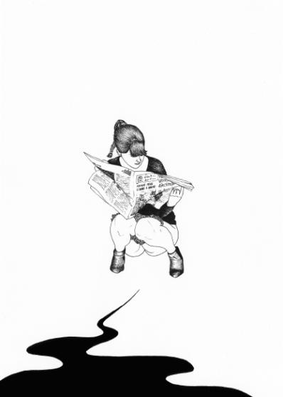 Pisseuse (es decir, meona) de la ilustradora Océane Moussé. Más pisseuses en http://oceanemousse.blogspot.com.es/search/label/pisseuses